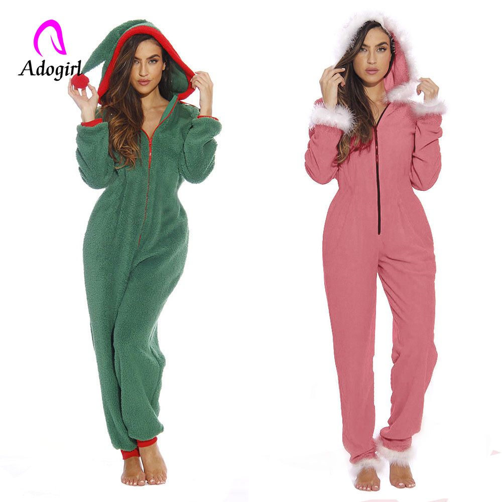 Christmas Women Winter Rompers 2019 Long Sleeve Velvet Hooded Outfits Zipper Fleece Home Suit Jogging Bodycon Fitness   Jumpsuit