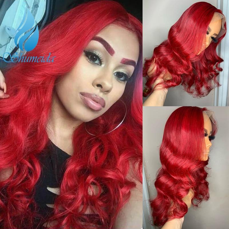 Перуанские передние парики красного цвета с предварительно отобранными волосами, 150% плотность, волнистые человеческие волосы Remy для женщи...