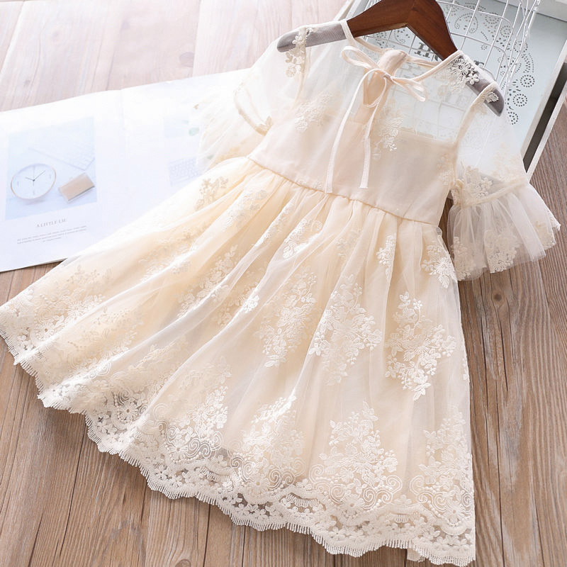 New Flower Girls Dress Wedding Party Princess Dress Casual Kids Clothes Embroidery Summer Lace Dress Infant Children's Vestidos