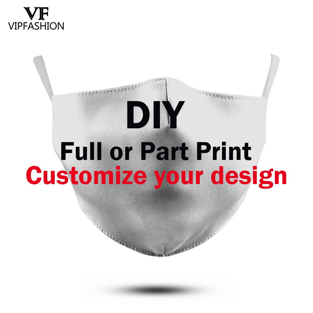 VIP FASHION Custom Your Own Design 3D Printed Adult Kids Dust-Proof Anti-fog Washable Reusable Protective Masks Drop Shipping