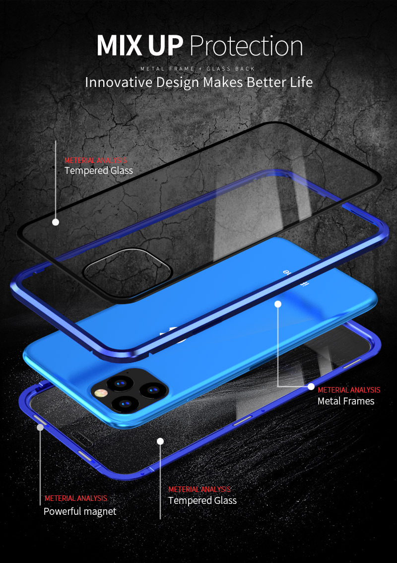 Transparent Tempered Glass Full Cover Magnetic Waterproof Flip Phone Case For iPhone 12 Pro