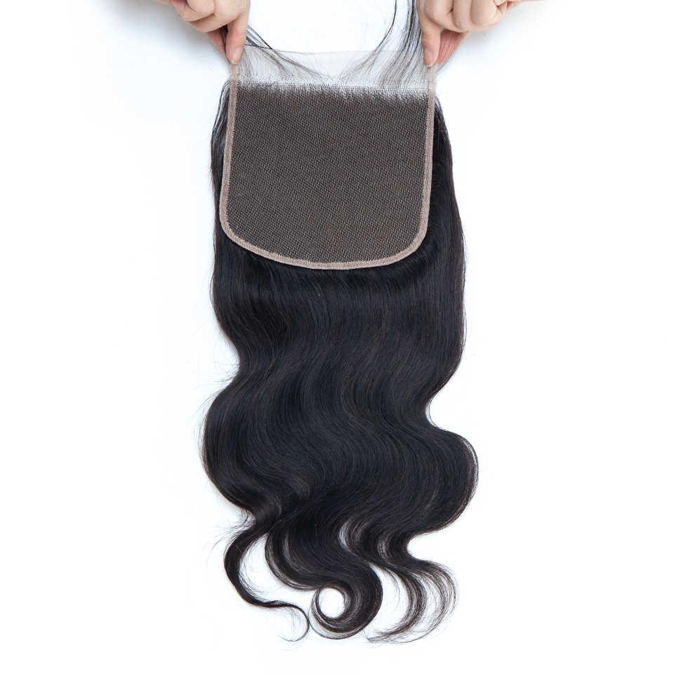 6x6 zamknięcie koronki ciało fala uzupełnienie splotu ludzkich włosów wolna część z dzieckiem włosy Remy peruwiański włosy 8-24 Cal naturalny kolor Yepei