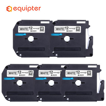 MK231 label tape black on white Compatible for Brother P touch 12mm MK-231 mk231 Label Printer M-K231 label ribbon cassette