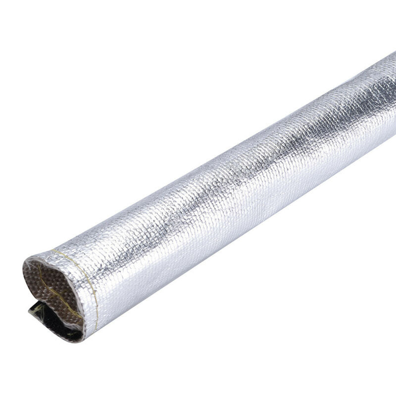 1pc Heat Shield Sleeve Silver Metallic Hose Wrap Loom Pipe Hook and loop|Exhaust  Assembly| |  - title=