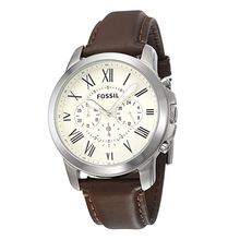Fossil Grant Chronograph Mens Watch White Dial Quartz Stainless Steel Watch Brow