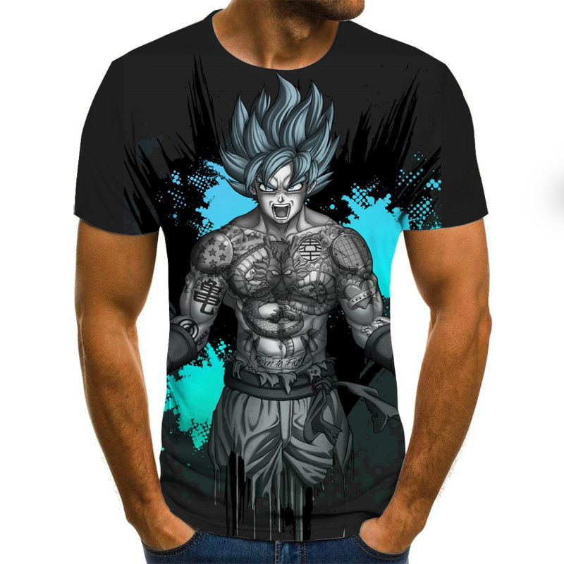 2020 New Men's Fashion Goku Dragon Ball 3D Print Casual Short Sleeve Cosplay T-Shirt 3D Tshirts Fitness