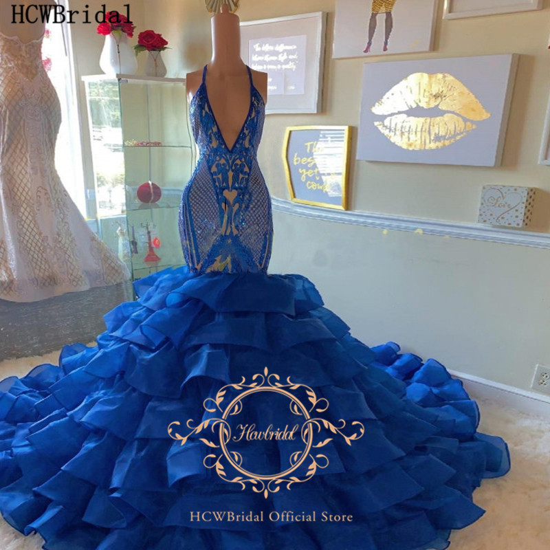 Sexy Royal Blue Mermaid Backless Long Prom Dresses Sparkly Sequins Tiered Organza Plus Size Bridal Wedding Party Dress Customize