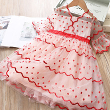 Girls Dress Summer Brand New Girls Embroidery Dress Dot Baby Kids Girls Clothing Kids Dresses for Girls Vestidos cheap COTTON Polyester Stretch Spandex ModaL Knee-Length V-Neck REGULAR Short Cute Fits true to size take your normal size