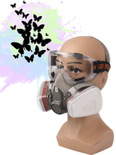 Respirator Mask - Gas Mask with Dual Filter Cartridges for Breathing Eye Protection Against Dust,Organic Vapors, Chemicals-Paint