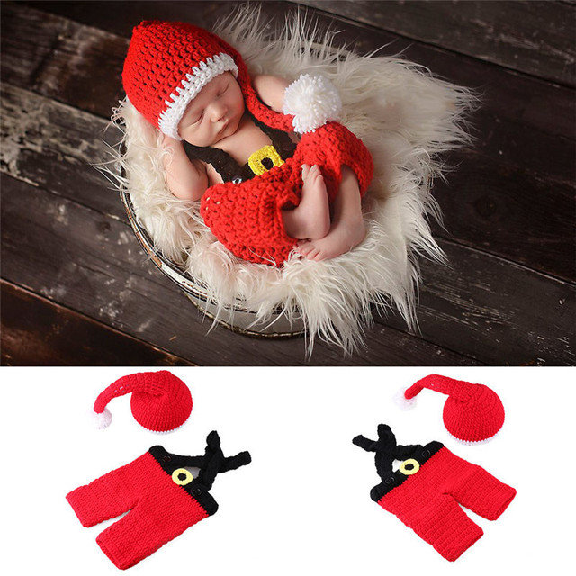0-4Months Baby Photo Costume Infant Red Wool Christmas Dress Newborn Baby Photography Props Theme Studio Accessories Baby Pic 5