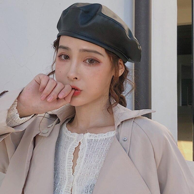 HT2696 Women Berets Vintage Autumn Winter Hat PU Leather Hats for Ladies Artist Painter Beret Female