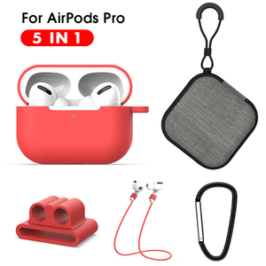 5 IN-1 Protective Case For Air pods Pro Soft Silicone Lanyard Carabiner Earphones Case for Airpods 3 pro Accessories Storage Box(China)