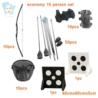 10 Persons Kids/Adults Cheap Archery Tag Game Equipment Set Durable Foam Arrow Straight Bow Mask Target Set