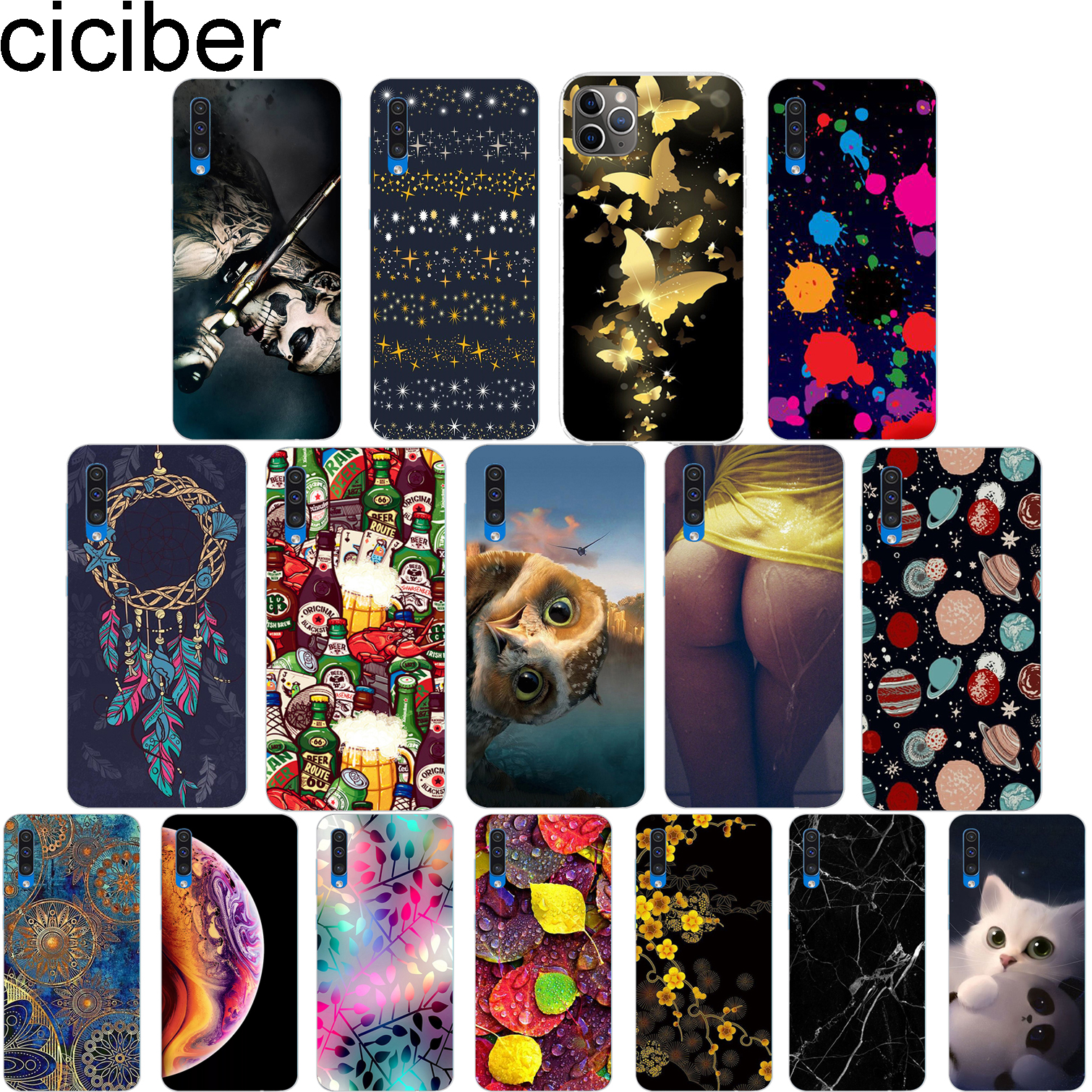 ciciber for <font><b>Samsung</b></font> Galaxy <font><b>A50</b></font> A40 6.4inch 5.9inch Phone Case Soft Silicone TPU Cover Fundas Flower and Animal Coque Capa <font><b>Hoesje</b></font> image