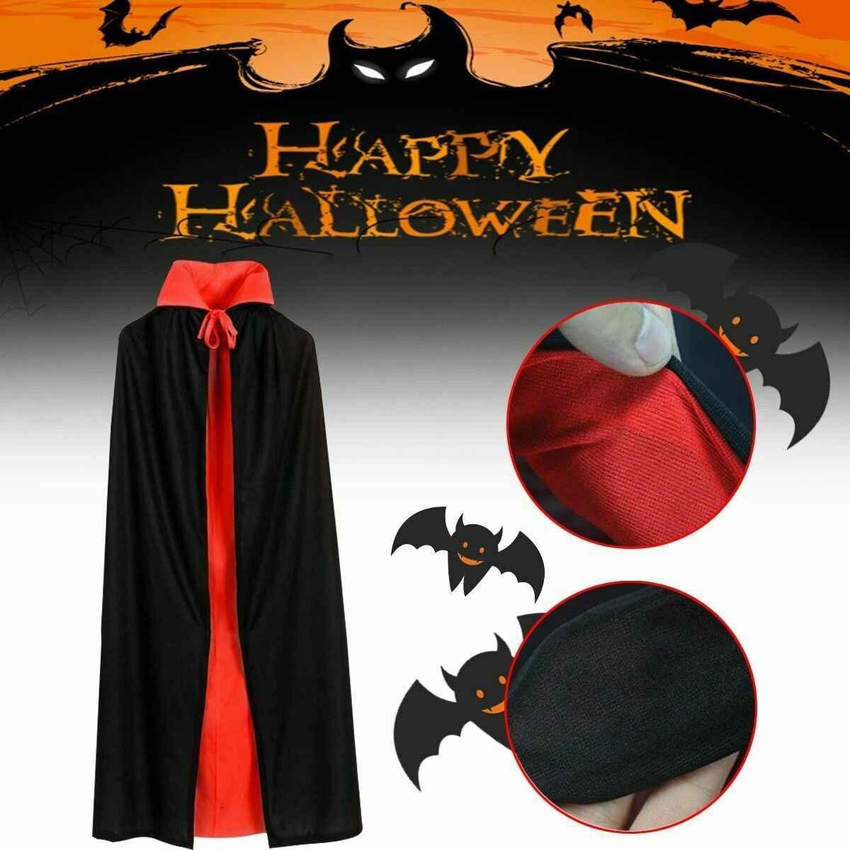 1x preto & vermelho halloween com capuz traje reversível manto capa homem mulher cosplay drácula diabo gótico bruxa princesa
