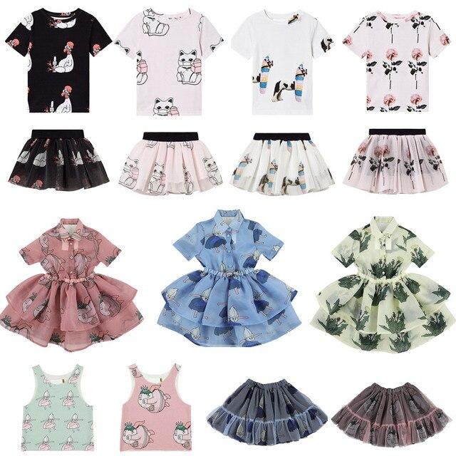 Girls Clothing Sets 2020 Summer Caroline Baby Flower T-shirt Cartoon Tutu Skirts Caps Girl Dress Party Suits Children Clothes 1