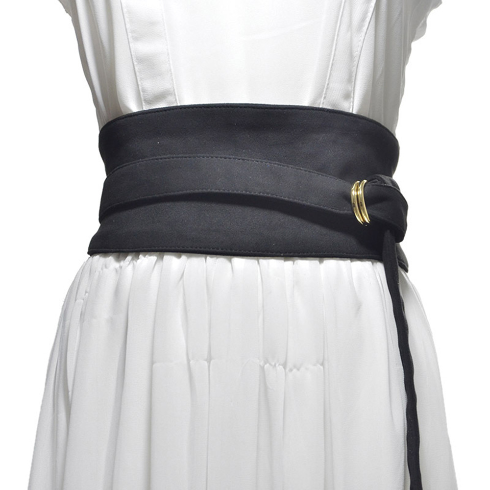 [AETRENDS] Velvet Cotton Women Wrap Corset Cinch Belt With O Ring Buckle Wide Waist Belt Band For Dress Overcoat D-0134