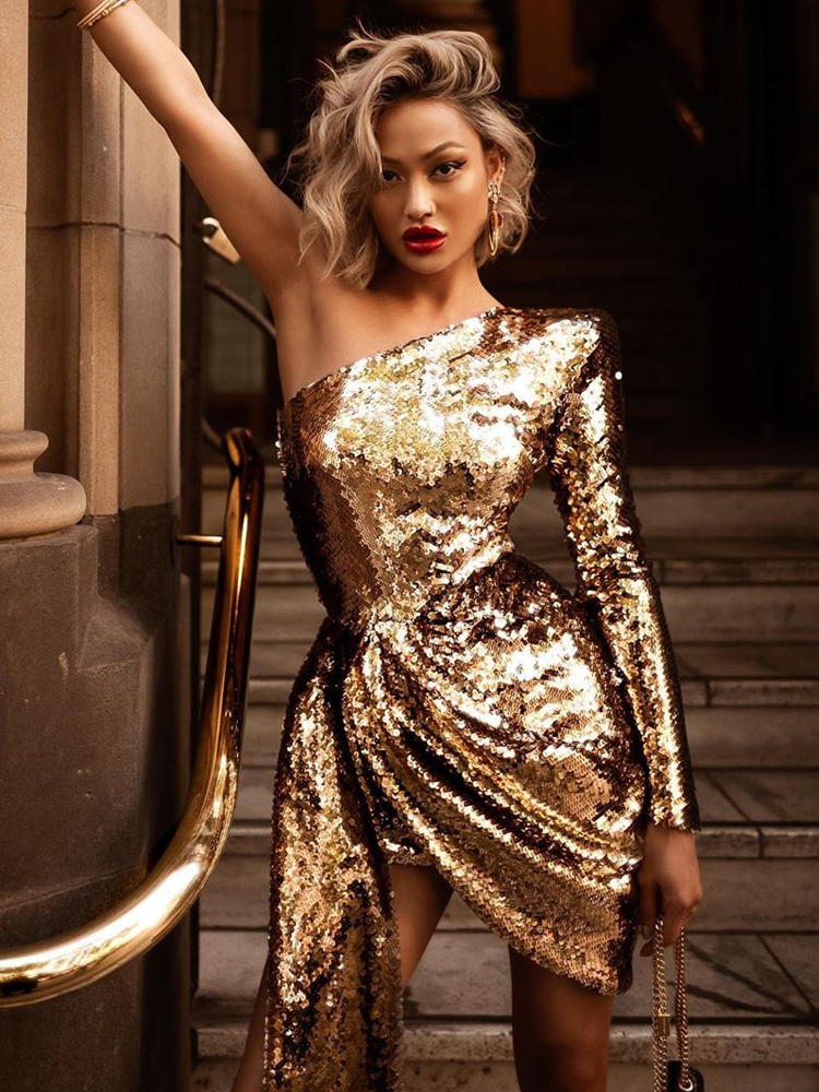 Sexy One-shoulded Gold Sequined Prom Dress Irregular Cocktail Dress Fashion Girl's Birthday Party Dress Long Sleeve Formal Dress