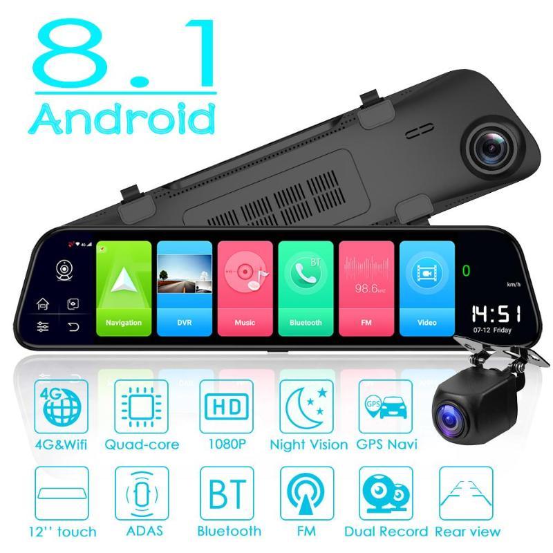 Voiture DVR caméra 4G Android 8.1 GPS Navi rétroviseur numérique enregistreur vidéo 12 pouces plein écran FM lancement Vision nocturne