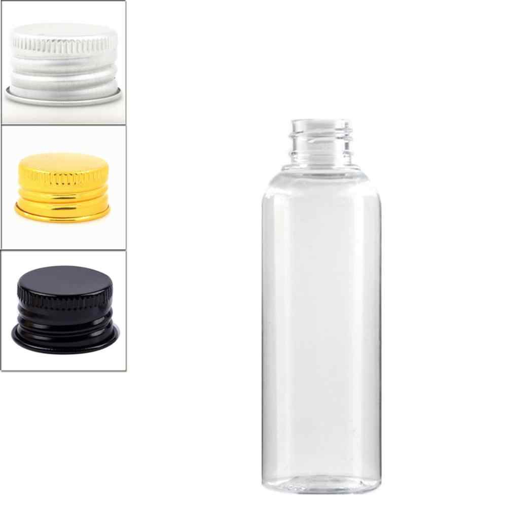 Botellas de plástico vacías de 200 ml, botella transparente para animal doméstico con tapa de aluminio dorada/plateada