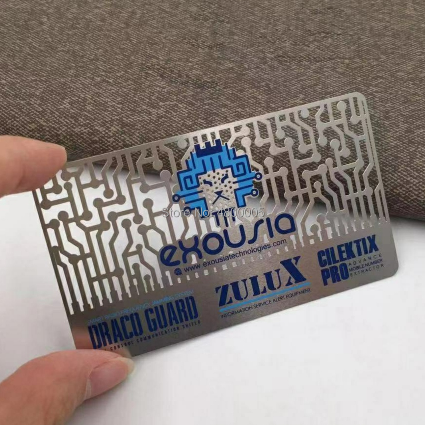 Купить с кэшбэком 200pcs/lot Cheap chemical etch die Cut through Stainless Steel Metal business card metal card
