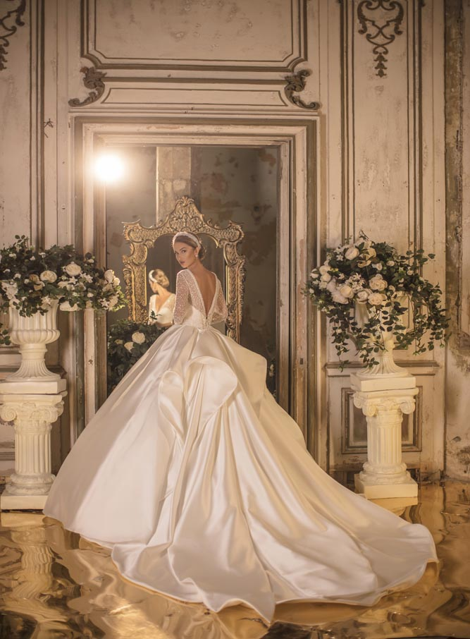 Image 2 - 2020 Mikado Royal V Neck Three Quarter Long Sleeve Backless Cathedral Wedding Dress Bridal GownWedding Dresses   -