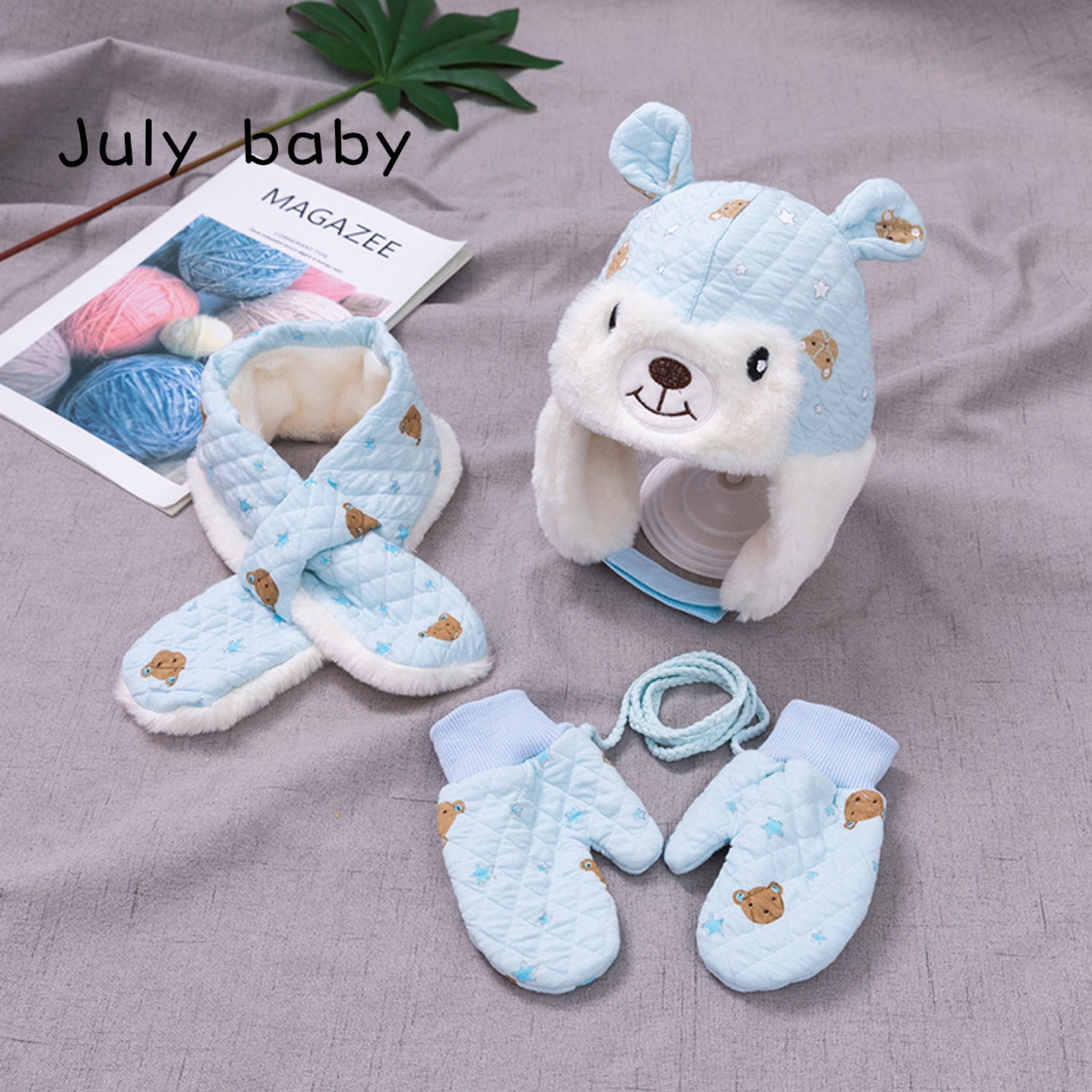 July Baby Cute And Comfortable Bear Ear Gloves Scarf Scarf Scarf Three-piece Baby Hat Plus Velvet Thick Warm Hat Autumn And Wint