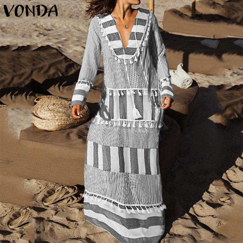 VONDA Women Cotton Dress Stripe V Neck Autumn Long Sleeve Maxi Dresses Tassel Patchwork Vestidos Plus Size Beach Sundress Robe