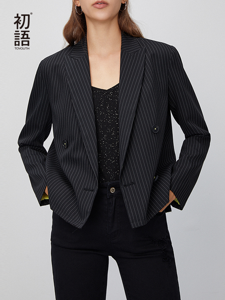 Toyouth 2020 Spring Work Wear Office Lady Short Casual Black And White Pinstripe Suit Blazer Women Elegant Blazer Outerwear