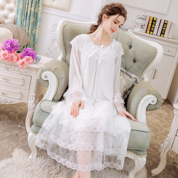 Womens Nightgown Sleepwear Lace Mesh Modal Night Dress Long Sleeves Plus Size Honeymoon Fairy Young Girls Ladies Nightwear Hot plus mesh panel lace dress