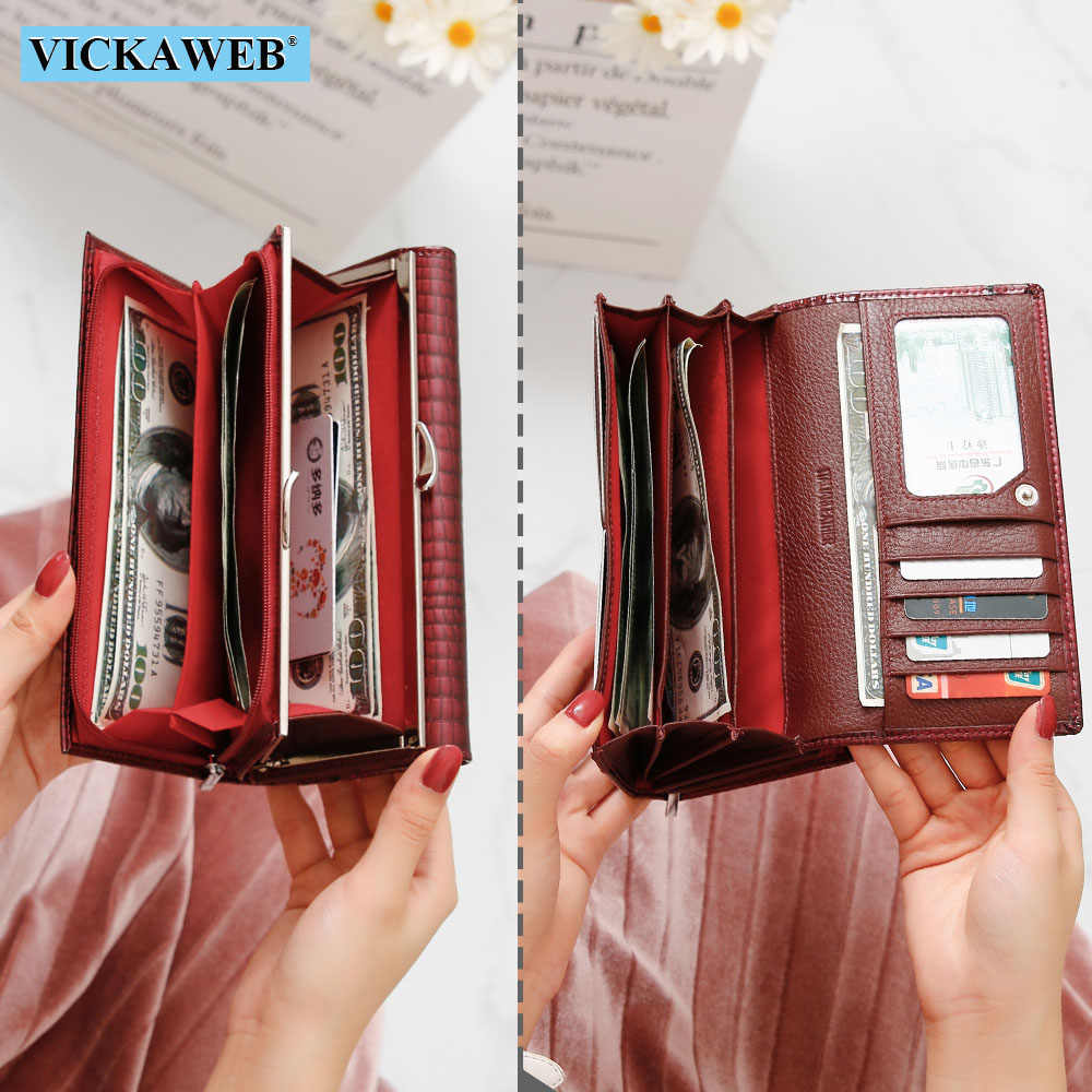 VICKAWEB Genuine Leather Women Wallet Multifunction Womens Clutch Big Wallets Ladies Purses Female Card Holder Purse Phone Bag