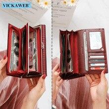 Vickaweb carteira de couro legítimo multifuncional, carteira feminina feita em couro legítimo, com compartimento para cartões