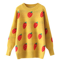 купить Fashion Women Strawberry Print Sweater Lady Long Sleeve Casual Loose Bandag Versatile  Knit Pullover Tops по цене 954.82 рублей