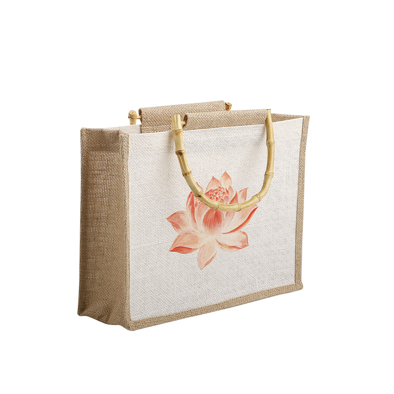 Brand Design Burlap Shopping Bag Water Lotus Coarse Jute Storage Bag Handbag Reusable Quality Cotton Linen Tote Grocery Bag