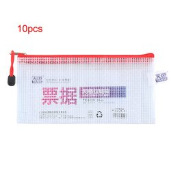 TIANSE 10pcs/pack Thickened Translucent Grid Design Zipper File Bag Waterproof Durable Receipt Document File Bags TS613A