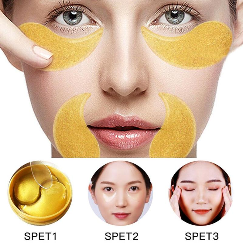 60pcs Gold Seaweed Collagen Eye Mask Anti Wrinkle Gel Sleep Gold Mask 2 Patches for Eyes