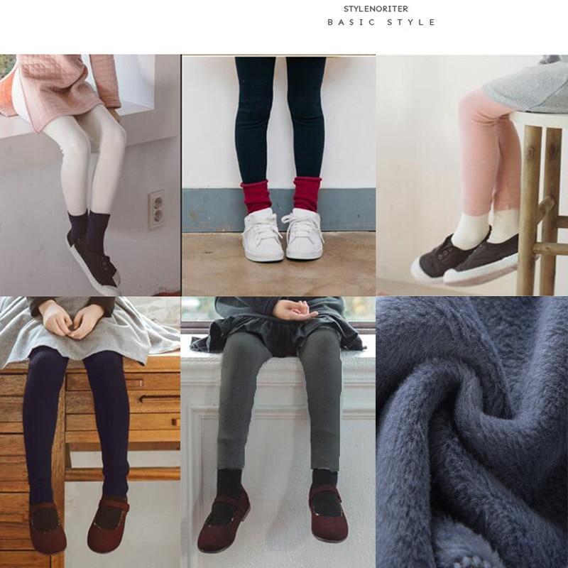 Girls Warm Elastic Waist Cotton Leggings Pants Winter Thickening Fleece Children's Long Trousers Solor Color Warm Girls Legging 3