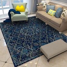Alfombras marroquí Vintage de lujo Casa dormitorio alfombra India sala de estar alfombra étnica azul alfombra persa 100% polipropileno