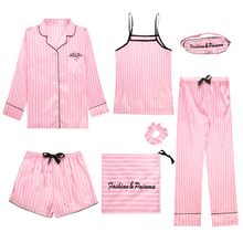 2020 New Pink Women's 7 Pieces Pajamas Sets Summer Emulation