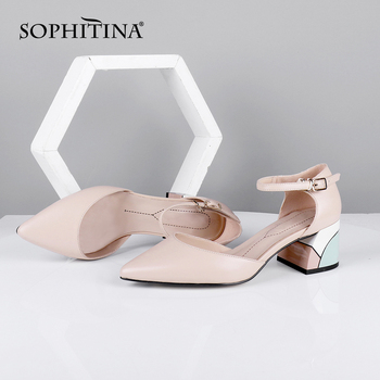 SOPHITINA Elegant Women Pumps Pointed Toe Square Heel High Buckle Ankle Strap Shallow Fashion Shoes Sheepskin Casual Pumps MC635 plus size 34 46 fashion high heels shoes women pumps square heel pointed toe dress pumps shallow party stilettos ladies footwear