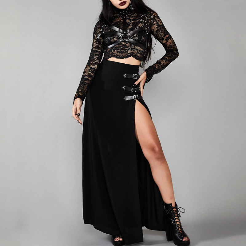 Imily Bela Gothic Long Split Skirt Women Sexy Side Slit High Waist Straight Skirts Femme Balck Ankle Length Faldas Streetwear