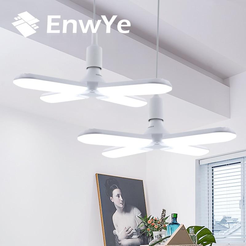EnwYe LED Light 30W 45W 60W AC 110V 220V Super Bright Adjustable Angle  Folding Four-Leaf Deformation Lamp E27