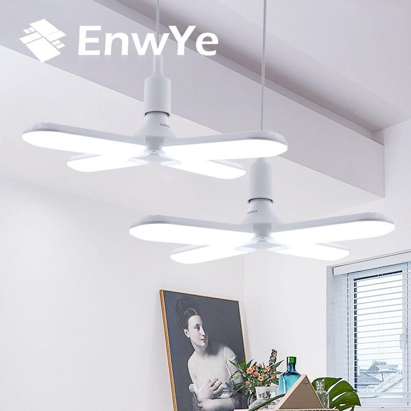 EnwYe lumière LED 30W 45W 60W AC 110V 220V Super lumineux angle réglable pliant quatre feuilles déformation lampe E27