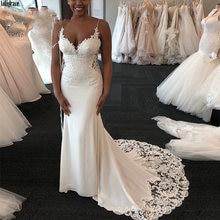 Атласные свадебные платья русалки на тонких бретельках с кружевной
