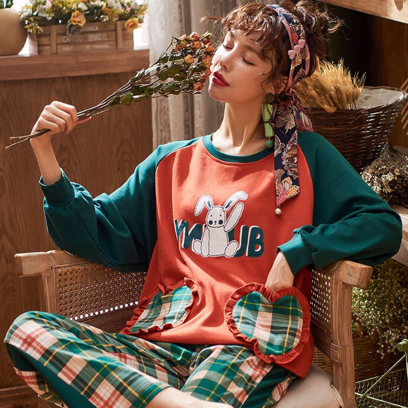 Cute Rabbit Print Pyjama Women's Cotton Long-sleeved Sweet Plaid Pants Girl Two-piece Set Spring Autumn Tracksuit New Year Gifts 25