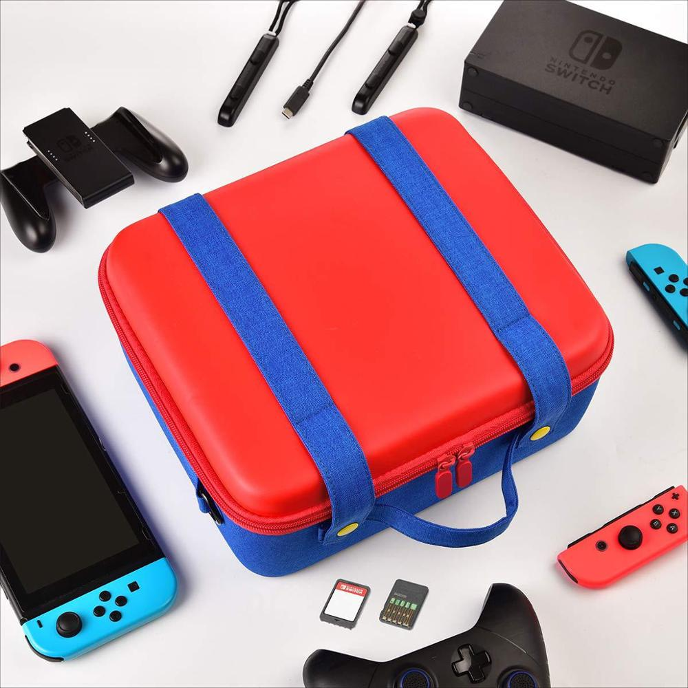 Travel Carrying Case Compatible With Nintendo Switch System,Cute and Deluxe,Protective Hard Shell Carry Bag for Mario Fans 2in1 1