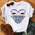 Модные леопардовые маска для лица с принтом ресниц женские футболка Harajuku женские топы с коротким рукавом, свободные футболки 90s; Футболка дл...