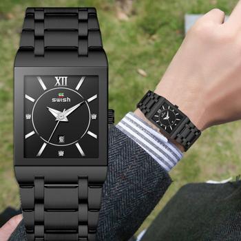 Relogios męski zegarek męski japoński zegarek kwarcowy męski kwadratowy pełny stalowy zegar analogowy męski wodoodporny męski zegarek sportowy tanie i dobre opinie SYNOKE 24cm Luxury ru QUARTZ NONE 3Bar Klamerka z zapięciem CN (pochodzenie) STOP 10mm Hardlex Kwarcowe zegarki bez opakowania
