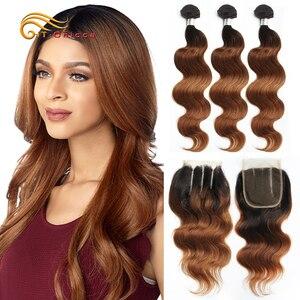Ombre Brazilian Body Wave Bundles With Closure 70g/pc Human Hair 3 Bundles With Closure 1B/30 Honey Blonde Bundles With Closure(China)
