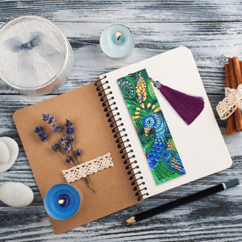 HUACAN 5D Diamond Painting Bookmark Special Shaped Diamond Art Embroidery Cross Stitch Leather Tassel Book